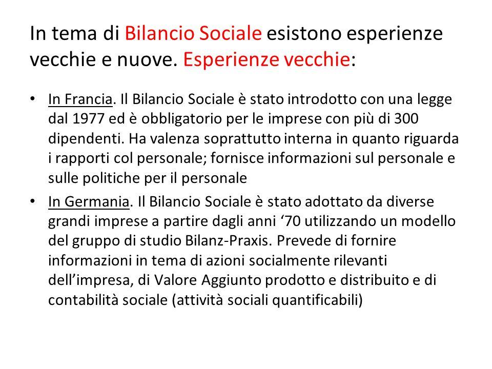In tema di Bilancio Sociale esistono esperienze vecchie e nuove. Esperienze vecchie: In Francia. Il Bilancio Sociale è stato introdotto con una legge