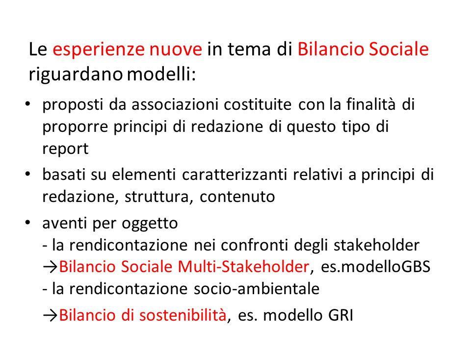 Le esperienze nuove in tema di Bilancio Sociale riguardano modelli: proposti da associazioni costituite con la finalità di proporre principi di redazi