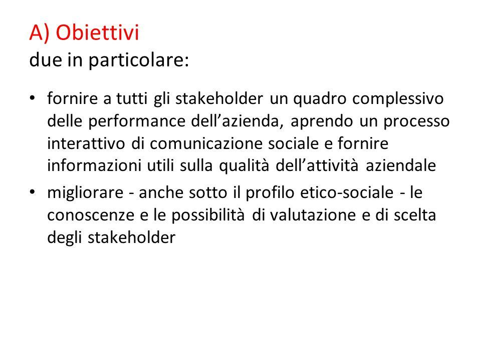 A) Obiettivi due in particolare: fornire a tutti gli stakeholder un quadro complessivo delle performance dell'azienda, aprendo un processo interattivo