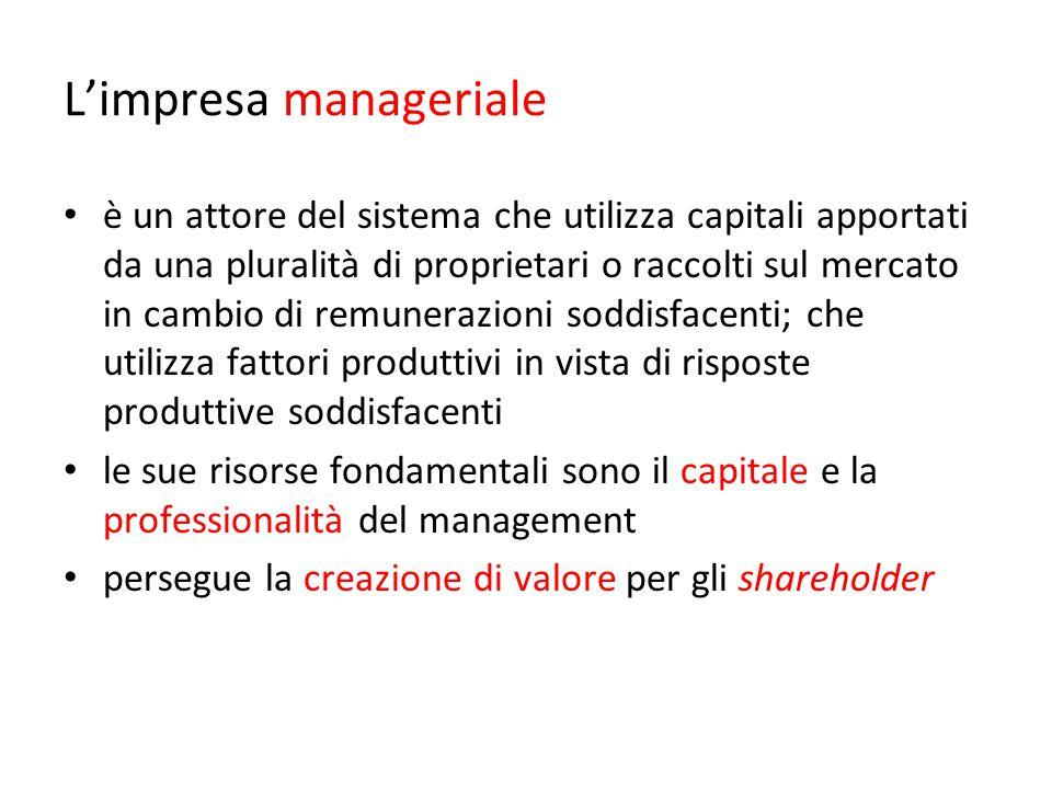 L'impresa manageriale è un attore del sistema che utilizza capitali apportati da una pluralità di proprietari o raccolti sul mercato in cambio di remu