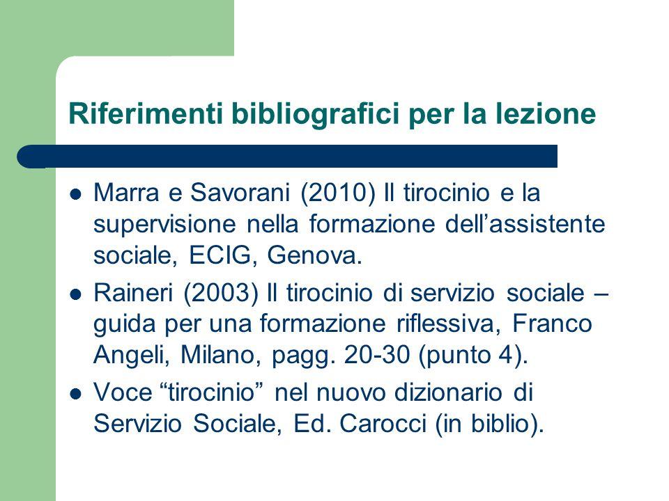 Riferimenti bibliografici per la lezione Marra e Savorani (2010) Il tirocinio e la supervisione nella formazione dell'assistente sociale, ECIG, Genova.
