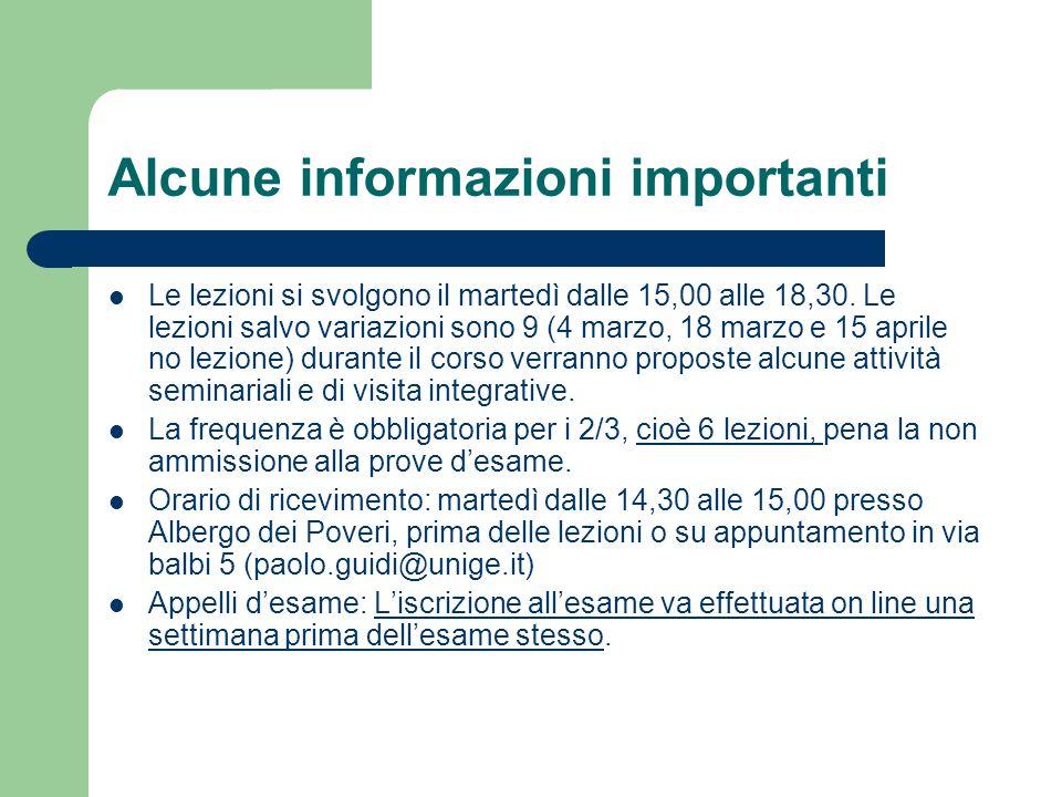 Alcune informazioni importanti Le lezioni si svolgono il martedì dalle 15,00 alle 18,30. Le lezioni salvo variazioni sono 9 (4 marzo, 18 marzo e 15 ap