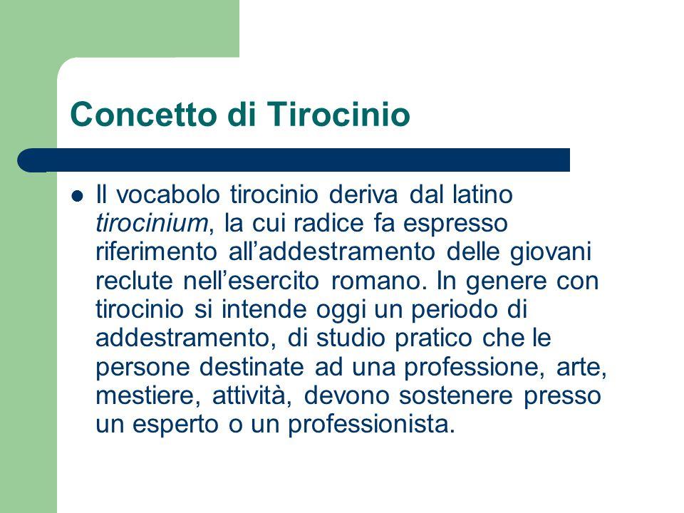 Concetto di Tirocinio Il vocabolo tirocinio deriva dal latino tirocinium, la cui radice fa espresso riferimento all'addestramento delle giovani reclut