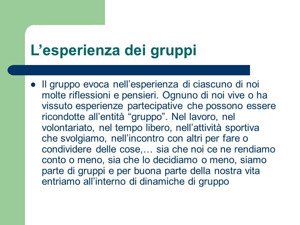 Il gruppo rappresenta… Un'esperienza poliedrica che accompagna la nostra vita uno strumento insostituibile per la soddisfazione di bisogni Un'esperienza formativa e di continua sperimentazione di sé un contesto di confronto e conflitto