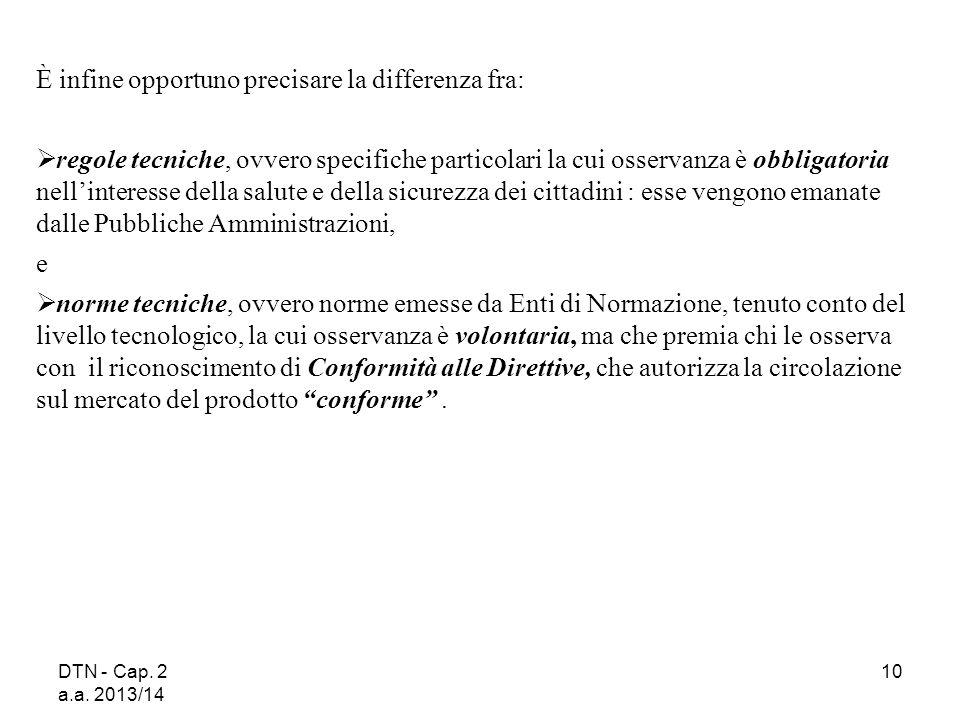 DTN - Cap. 2 a.a. 2013/14 10 È infine opportuno precisare la differenza fra:  regole tecniche, ovvero specifiche particolari la cui osservanza è obbl