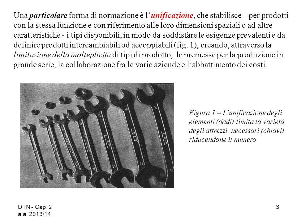 DTN - Cap. 2 a.a. 2013/14 3 Una particolare forma di normazione è l'unificazione, che stabilisce – per prodotti con la stessa funzione e con riferimen