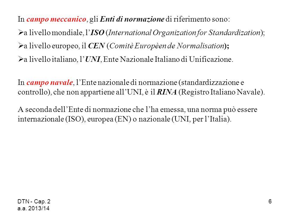 DTN - Cap. 2 a.a. 2013/14 6 In campo meccanico, gli Enti di normazione di riferimento sono:  a livello mondiale, l'ISO (International Organization fo