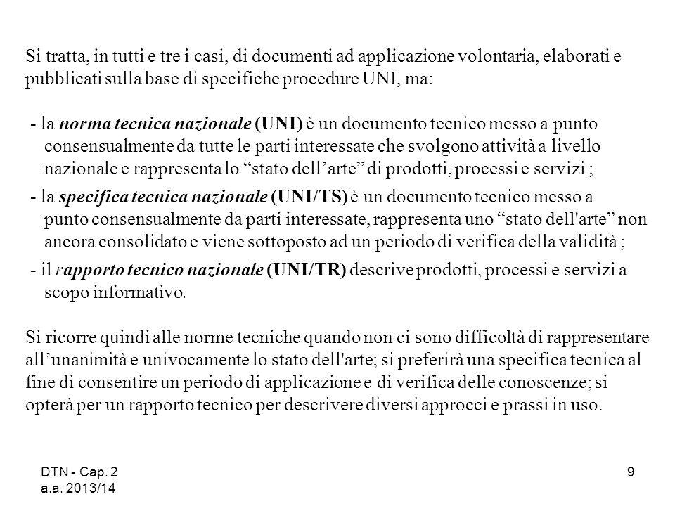 DTN - Cap. 2 a.a. 2013/14 9 Si tratta, in tutti e tre i casi, di documenti ad applicazione volontaria, elaborati e pubblicati sulla base di specifiche