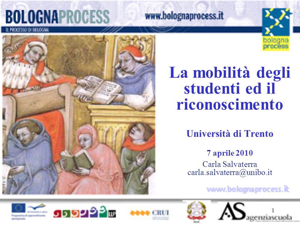 1 www.bolognaprocess.i t La mobilità degli studenti ed il riconoscimento Università di Trento 7 aprile 2010 Carla Salvaterra carla.salvaterra@unibo.it