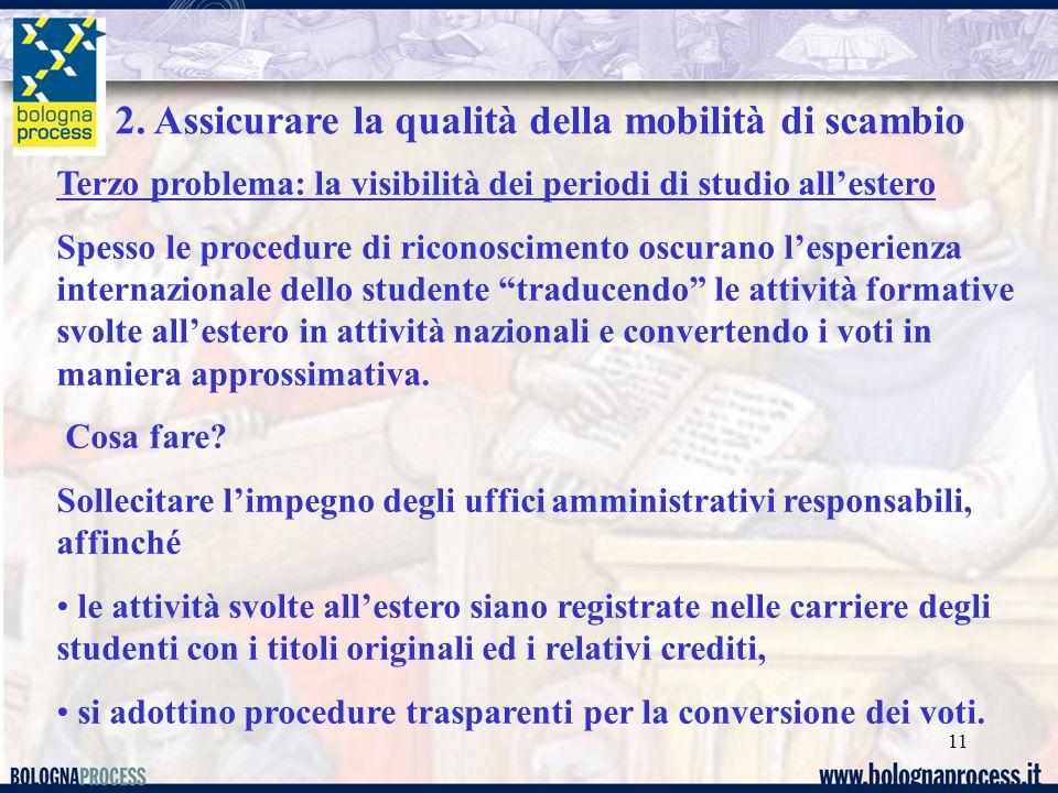 11 2. Assicurare la qualità della mobilità di scambio Terzo problema: la visibilità dei periodi di studio all'estero Spesso le procedure di riconoscim