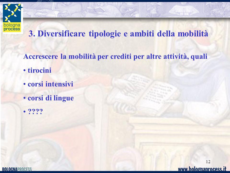 12 3. Diversificare tipologie e ambiti della mobilità Accrescere la mobilità per crediti per altre attività, quali tirocini corsi intensivi corsi di l