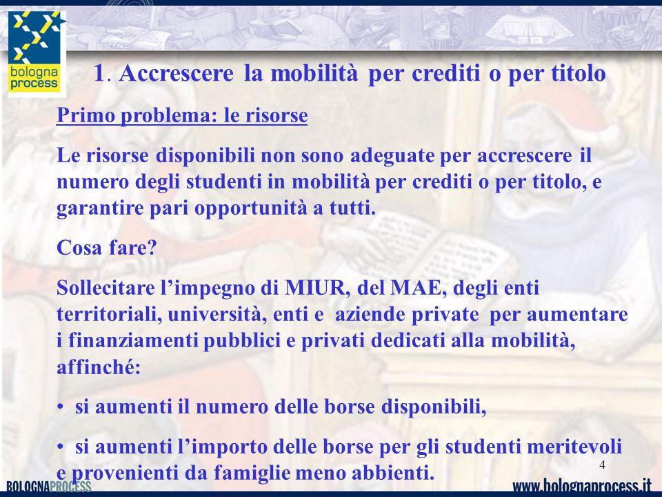 4 Primo problema: le risorse Le risorse disponibili non sono adeguate per accrescere il numero degli studenti in mobilità per crediti o per titolo, e garantire pari opportunità a tutti.