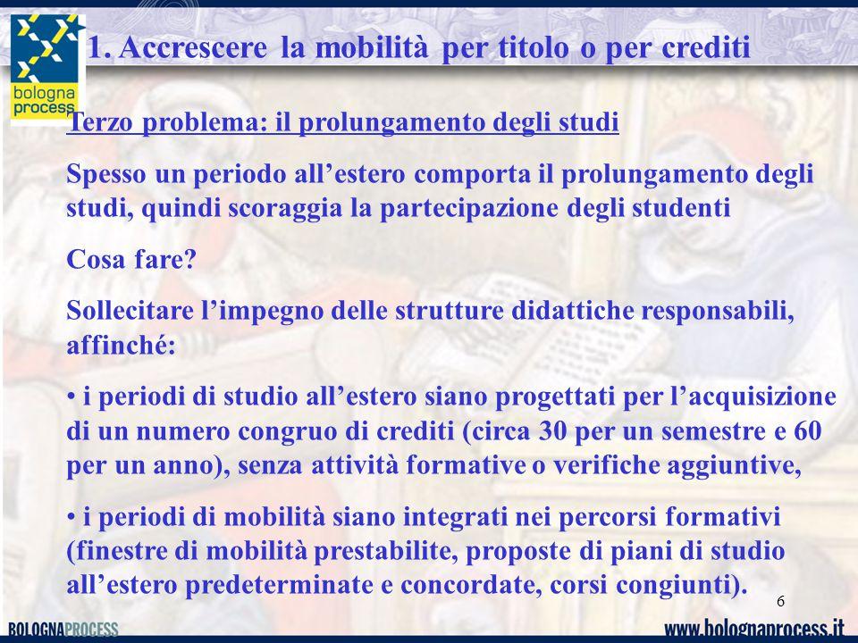 6 Terzo problema: il prolungamento degli studi Spesso un periodo all'estero comporta il prolungamento degli studi, quindi scoraggia la partecipazione degli studenti Cosa fare.