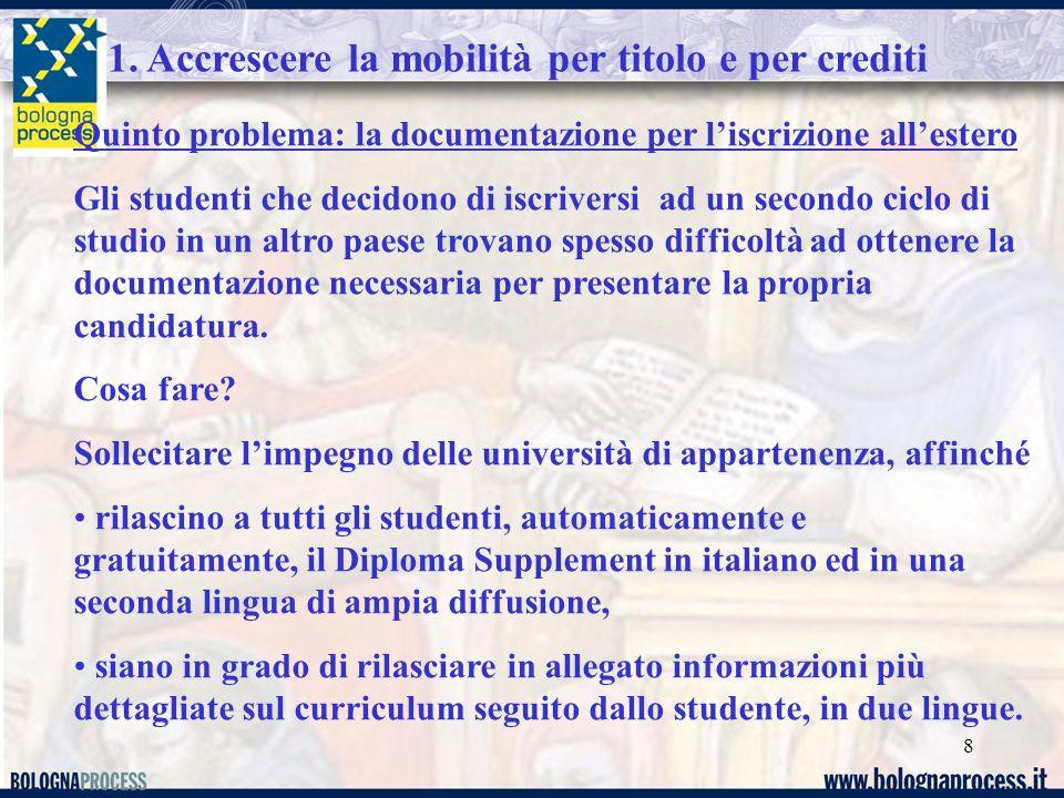 8 1. Accrescere la mobilità per titolo e per crediti Quinto problema: la documentazione per l'iscrizione all'estero Gli studenti che decidono di iscri