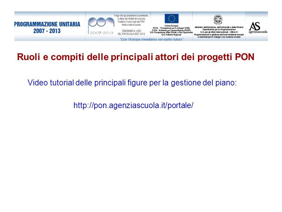Ruoli e compiti delle principali attori dei progetti PON Video tutorial delle principali figure per la gestione del piano: http://pon.agenziascuola.it/portale/