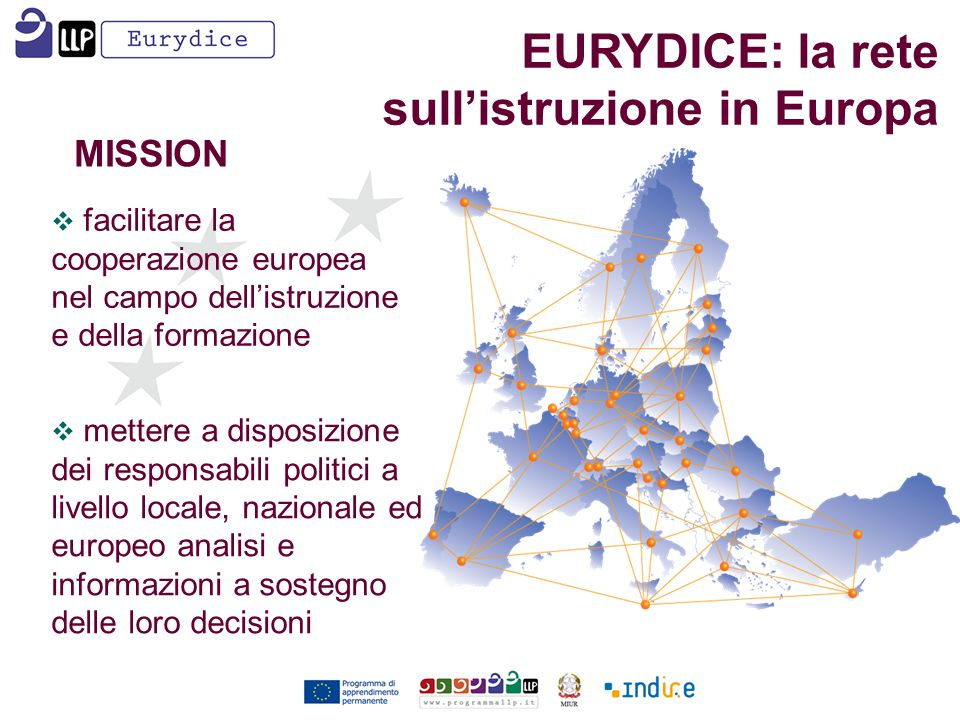  facilitare la cooperazione europea nel campo dell'istruzione e della formazione MISSION  mettere a disposizione dei responsabili politici a livello locale, nazionale ed europeo analisi e informazioni a sostegno delle loro decisioni EURYDICE: la rete sull'istruzione in Europa