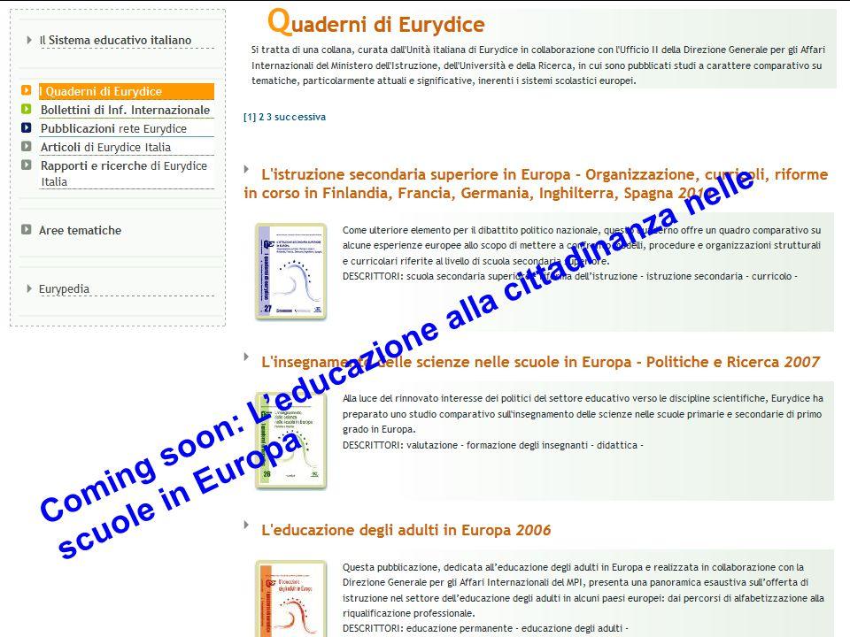 Coming soon: L'educazione alla cittadinanza nelle scuole in Europa