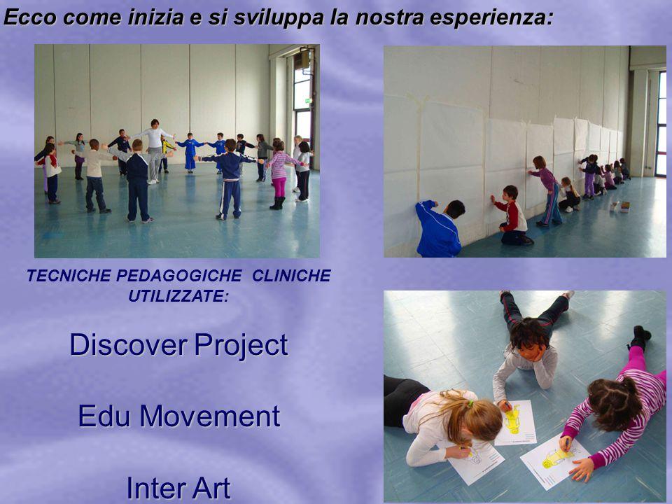 Ecco come inizia e si sviluppa la nostra esperienza: TECNICHE PEDAGOGICHE CLINICHE UTILIZZATE: Discover Project Edu Movement Inter Art