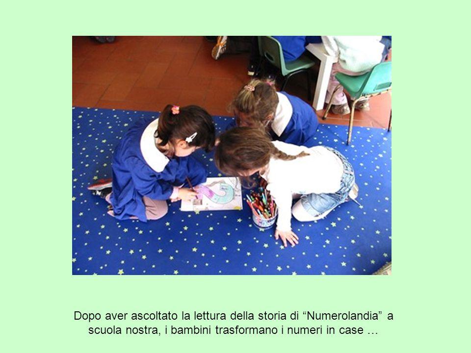 """Dopo aver ascoltato la lettura della storia di """"Numerolandia"""" a scuola nostra, i bambini trasformano i numeri in case …"""