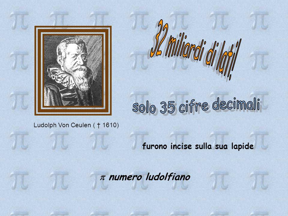 Ludolph Von Ceulen ( † 1610) furono incise sulla sua lapide  numero ludolfiano