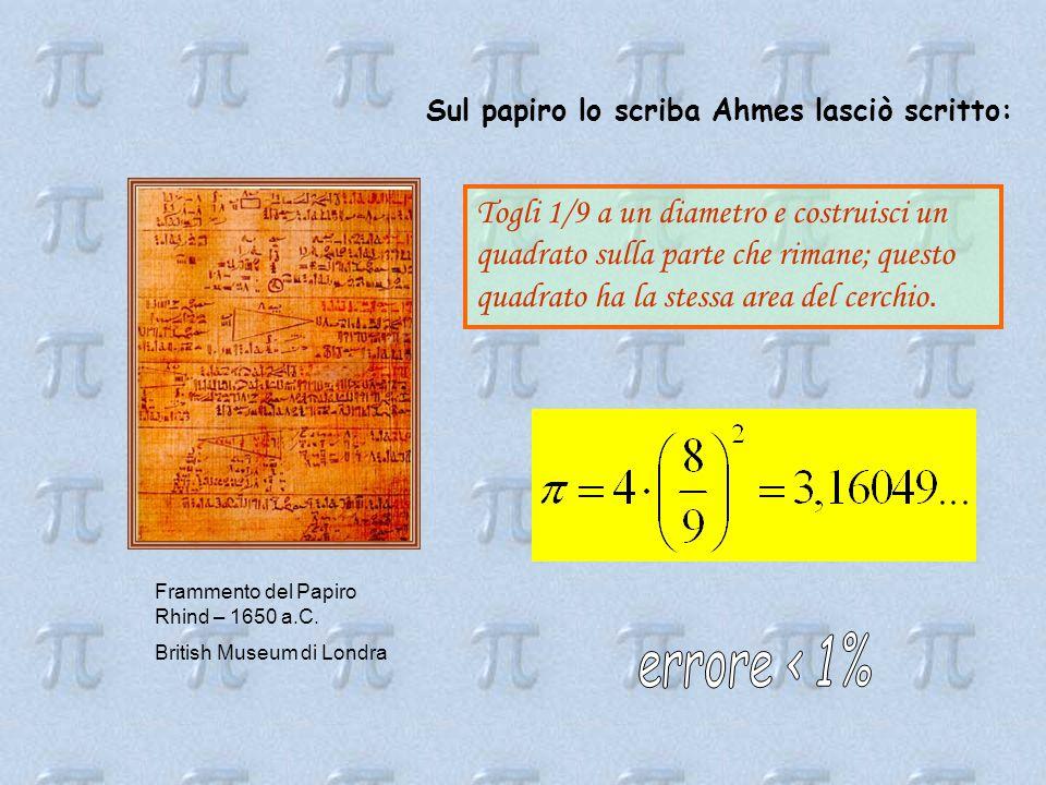 Frammento del Papiro Rhind – 1650 a.C.