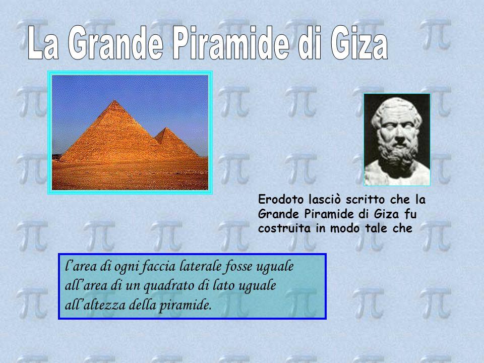 Erodoto lasciò scritto che la Grande Piramide di Giza fu costruita in modo tale che l'area di ogni faccia laterale fosse uguale all'area di un quadrato di lato uguale all'altezza della piramide.