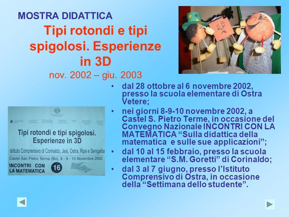Tipi rotondi e tipi spigolosi. Esperienze in 3D nov. 2002 – giu. 2003 dal 28 ottobre al 6 novembre 2002, presso la scuola elementare di Ostra Vetere;