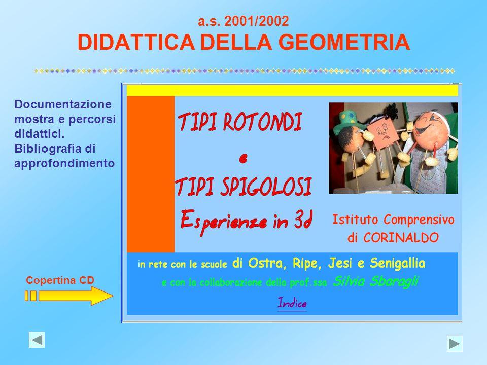 a.s. 2001/2002 DIDATTICA DELLA GEOMETRIA Documentazione mostra e percorsi didattici. Bibliografia di approfondimento Copertina CD