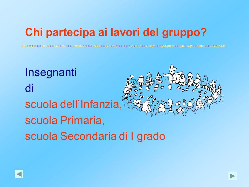 Chi partecipa ai lavori del gruppo? Insegnanti di scuola dell'Infanzia, scuola Primaria, scuola Secondaria di I grado