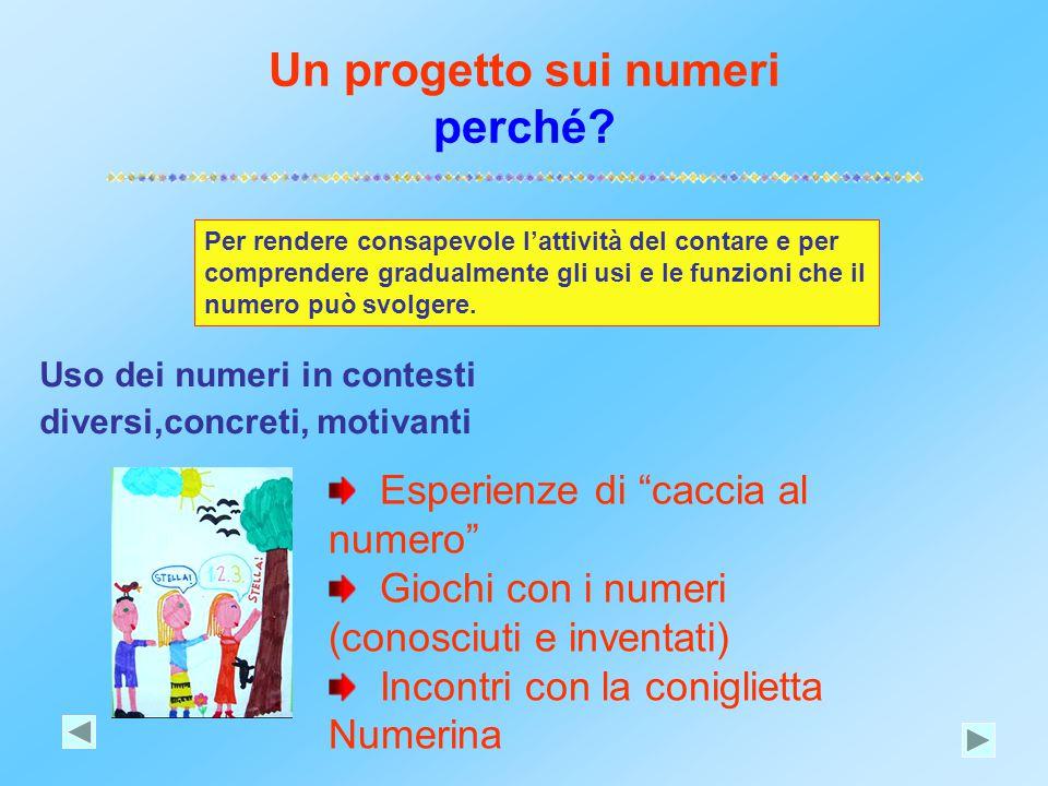 Un progetto sui numeri perché? Uso dei numeri in contesti diversi,concreti, motivanti Per rendere consapevole l'attività del contare e per comprendere