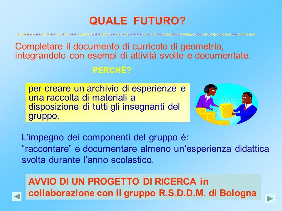 QUALE FUTURO? AVVIO DI UN PROGETTO DI RICERCA in collaborazione con il gruppo R.S.D.D.M. di Bologna Completare il documento di curricolo di geometria,