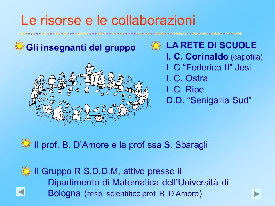Il prof. B. D'Amore e la prof.ssa S. Sbaragli Il Gruppo R.S.D.D.M. attivo presso il Dipartimento di Matematica dell'Università di Bologna ( resp. scie