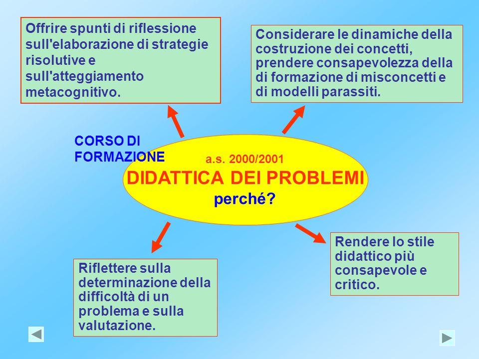 a.s. 2000/2001 DIDATTICA DEI PROBLEMI perché? Offrire spunti di riflessione sull'elaborazione di strategie risolutive e sull'atteggiamento metacogniti