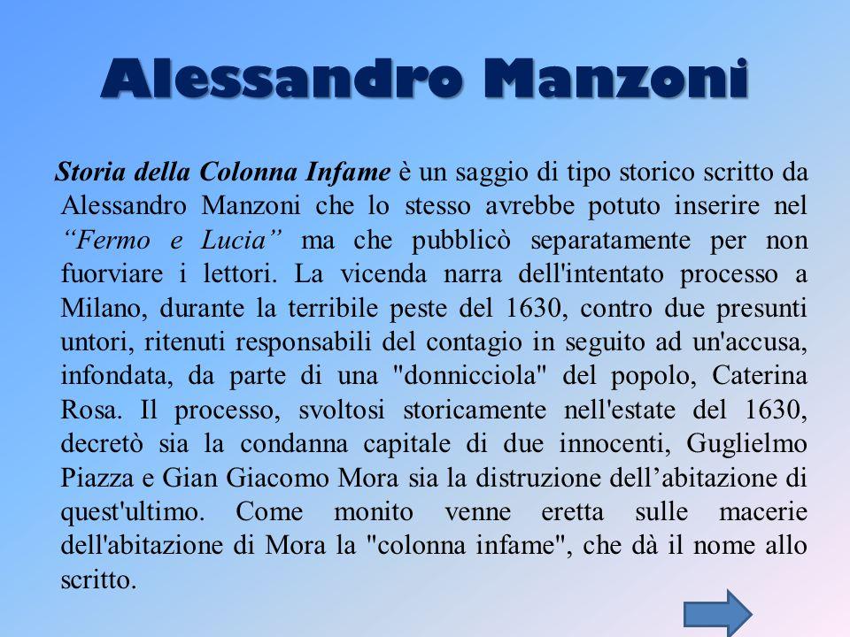 Alessandro Manzoni Storia della Colonna Infame è un saggio di tipo storico scritto da Alessandro Manzoni che lo stesso avrebbe potuto inserire nel Fermo e Lucia ma che pubblicò separatamente per non fuorviare i lettori.