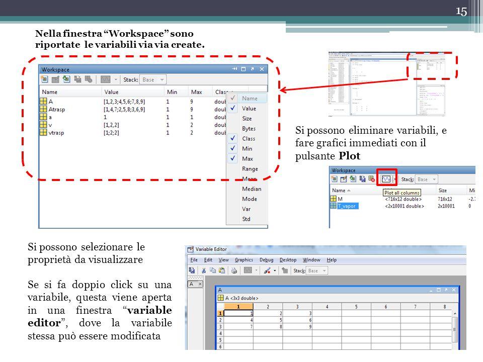 15 Nella finestra Workspace sono riportate le variabili via via create.