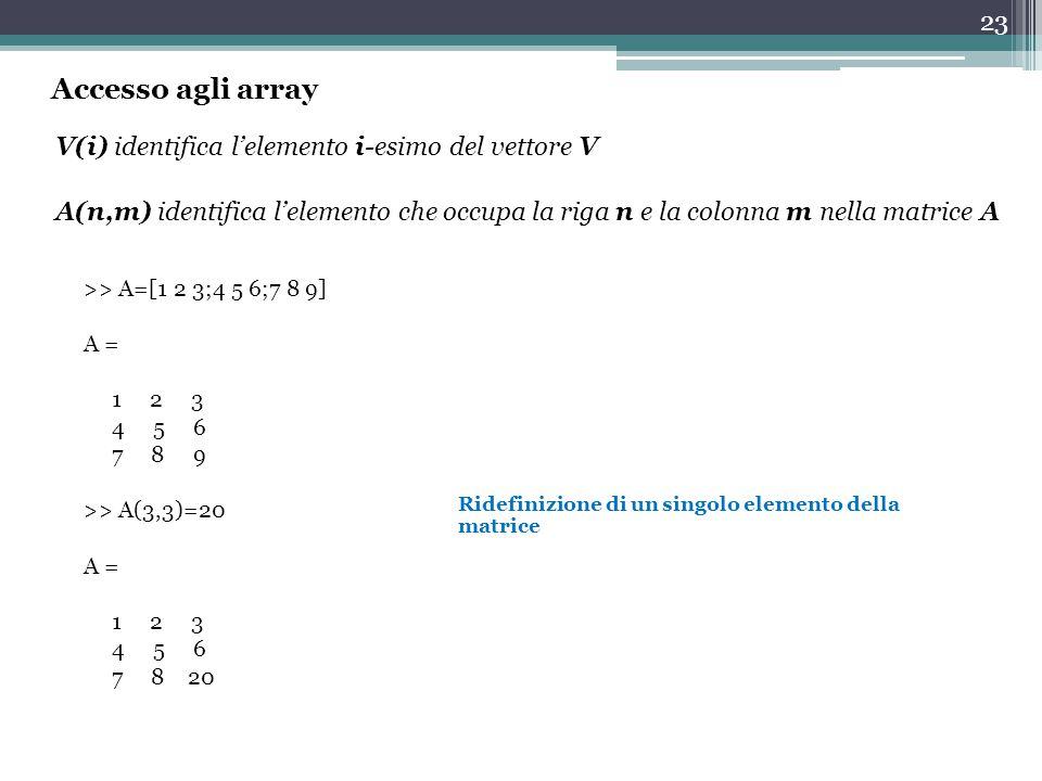 23 V(i) identifica l'elemento i-esimo del vettore V A(n,m) identifica l'elemento che occupa la riga n e la colonna m nella matrice A >> A=[1 2 3;4 5 6;7 8 9] A = 1 2 3 4 5 6 7 8 9 >> A(3,3)=20 A = 1 2 3 4 5 6 7 8 20 Ridefinizione di un singolo elemento della matrice Accesso agli array