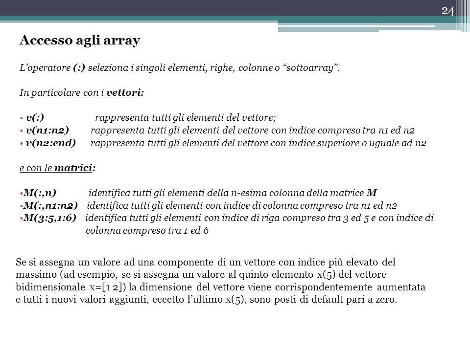 24 Accesso agli array L'operatore (:) seleziona i singoli elementi, righe, colonne o sottoarray .