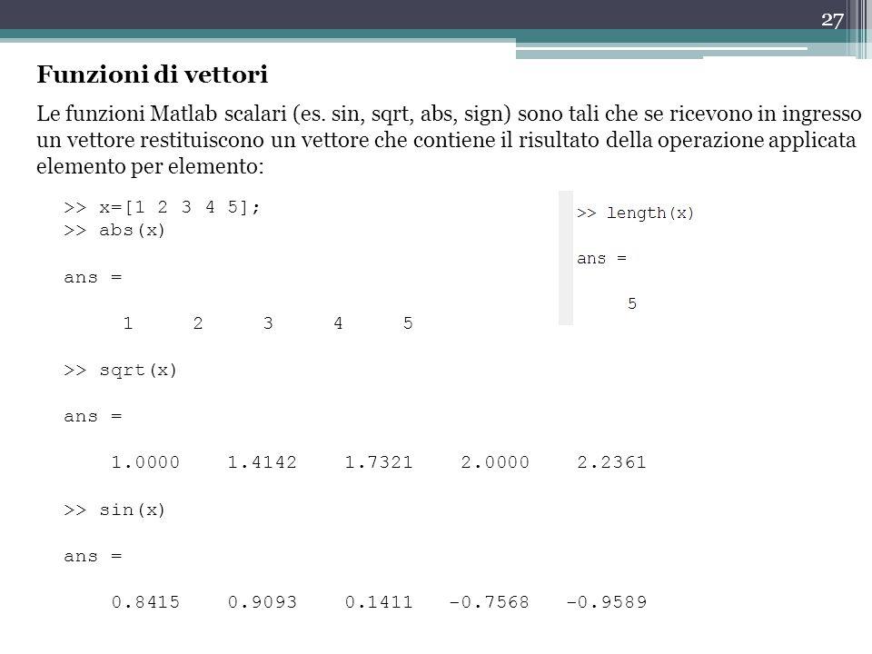 27 Funzioni di vettori Le funzioni Matlab scalari (es.