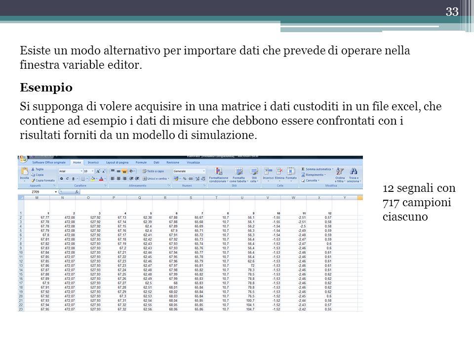 33 Esiste un modo alternativo per importare dati che prevede di operare nella finestra variable editor.