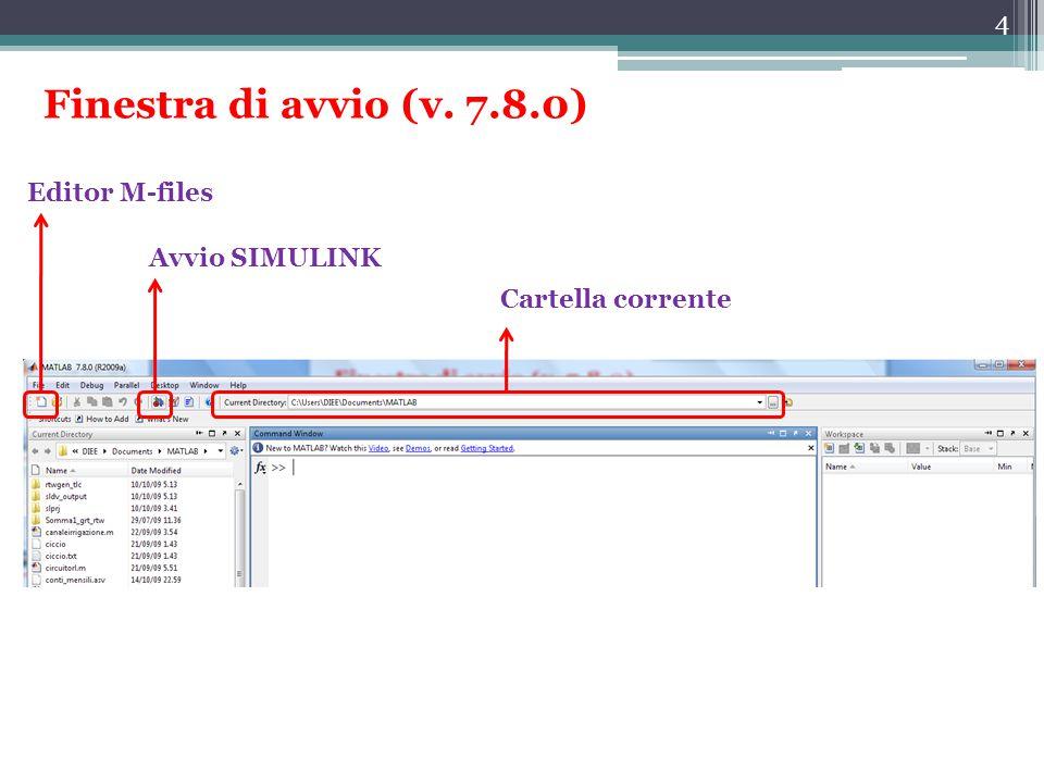 4 Finestra di avvio (v. 7.8.0) Cartella corrente Avvio SIMULINK Editor M-files