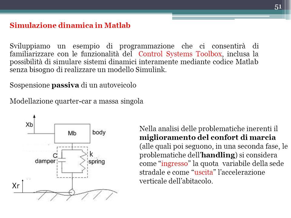51 Simulazione dinamica in Matlab Sviluppiamo un esempio di programmazione che ci consentirà di familiarizzare con le funzionalità del Control Systems Toolbox, inclusa la possibilità di simulare sistemi dinamici interamente mediante codice Matlab senza bisogno di realizzare un modello Simulink.