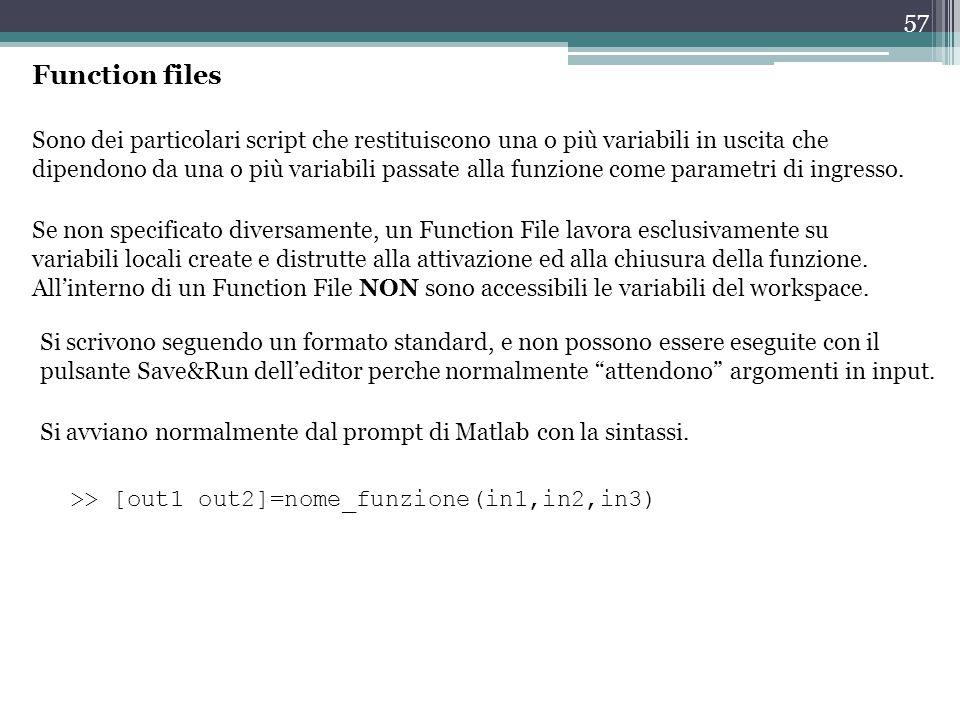 57 Function files Sono dei particolari script che restituiscono una o più variabili in uscita che dipendono da una o più variabili passate alla funzione come parametri di ingresso.