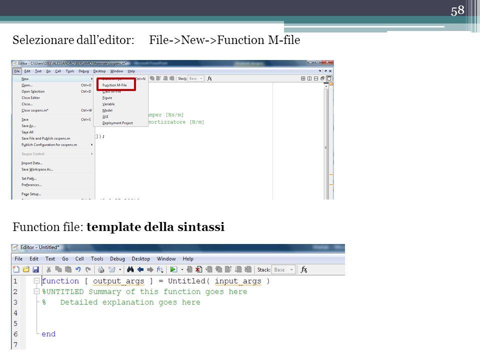 58 Selezionare dall'editor: File->New->Function M-file Function file: template della sintassi