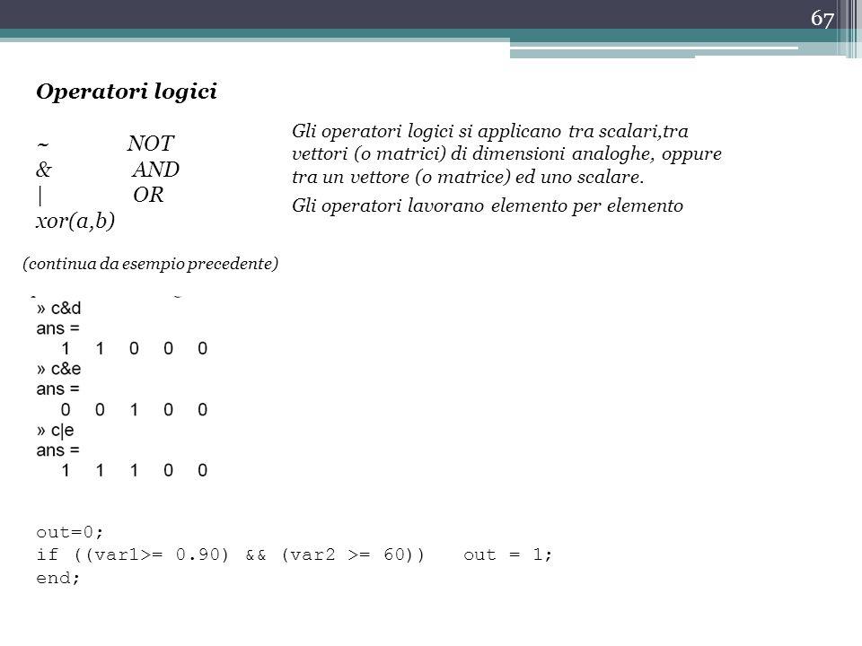 67 Operatori logici ~ NOT & AND | OR xor(a,b) out=0; if ((var1>= 0.90) && (var2 >= 60)) out = 1; end; Gli operatori logici si applicano tra scalari,tra vettori (o matrici) di dimensioni analoghe, oppure tra un vettore (o matrice) ed uno scalare.