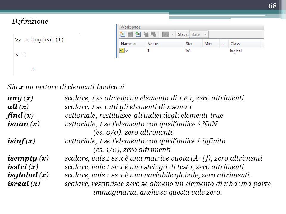 68 any (x) scalare, 1 se almeno un elemento di x è 1, zero altrimenti.