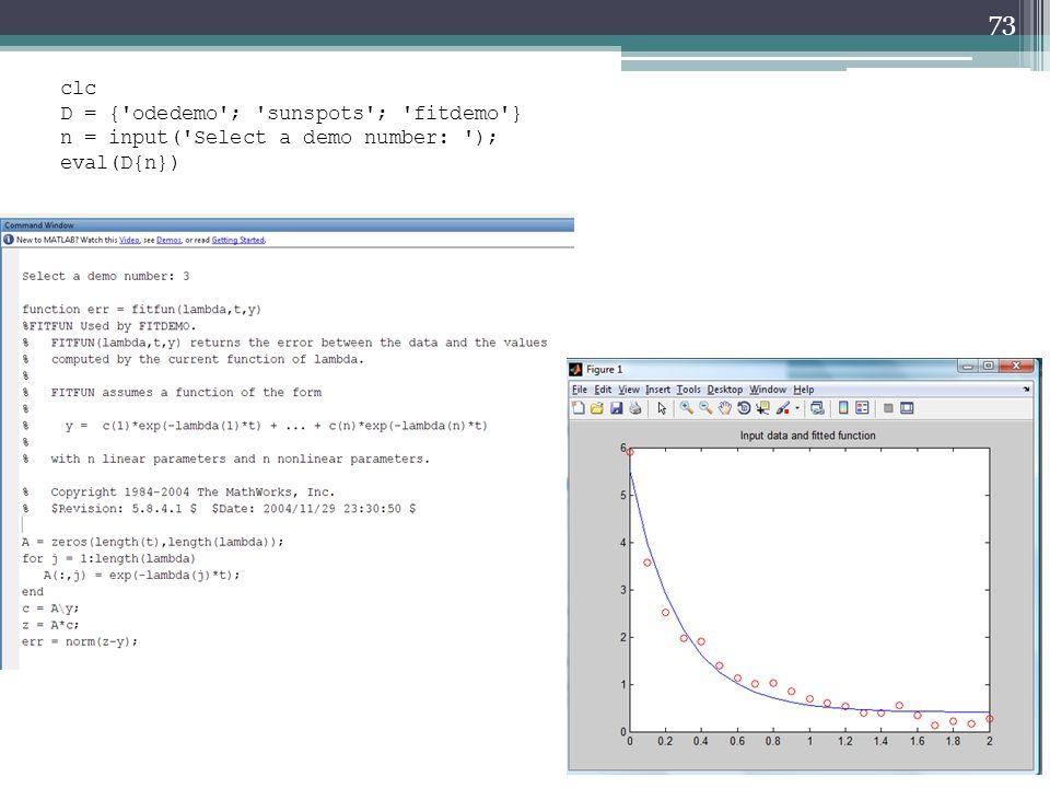 73 clc D = { odedemo ; sunspots ; fitdemo } n = input( Select a demo number: ); eval(D{n})