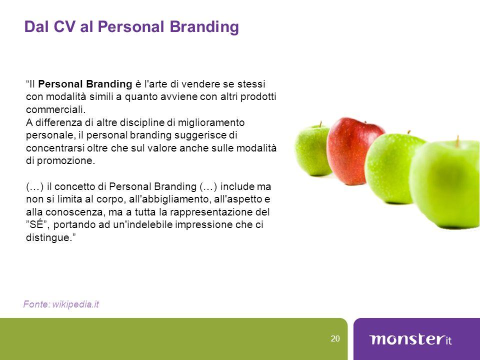 """Dal CV al Personal Branding 20 """"Il Personal Branding è l'arte di vendere se stessi con modalità simili a quanto avviene con altri prodotti commerciali"""
