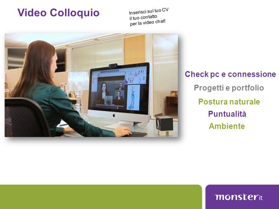 Video Colloquio Check pc e connessione Postura naturale Progetti e portfolio Puntualità Ambiente Inserisci sul tuo CV il tuo contatto per la video cha