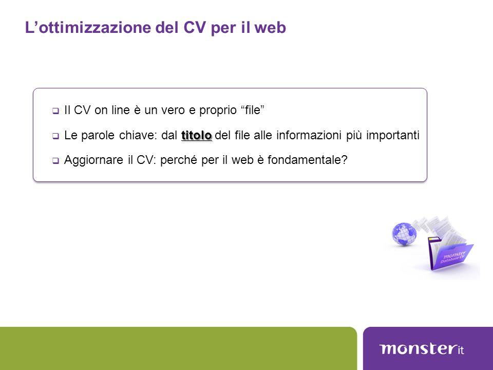 """L'ottimizzazione del CV per il web  Il CV on line è un vero e proprio """"file"""" titolo  Le parole chiave: dal titolo del file alle informazioni più imp"""