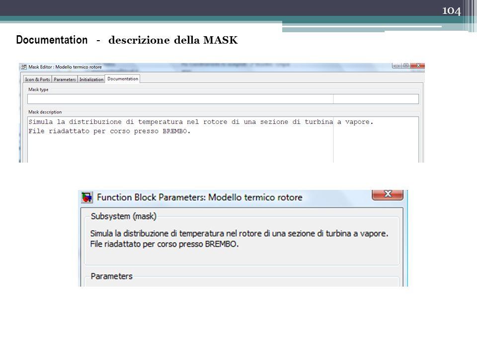 104 Documentation - descrizione della MASK